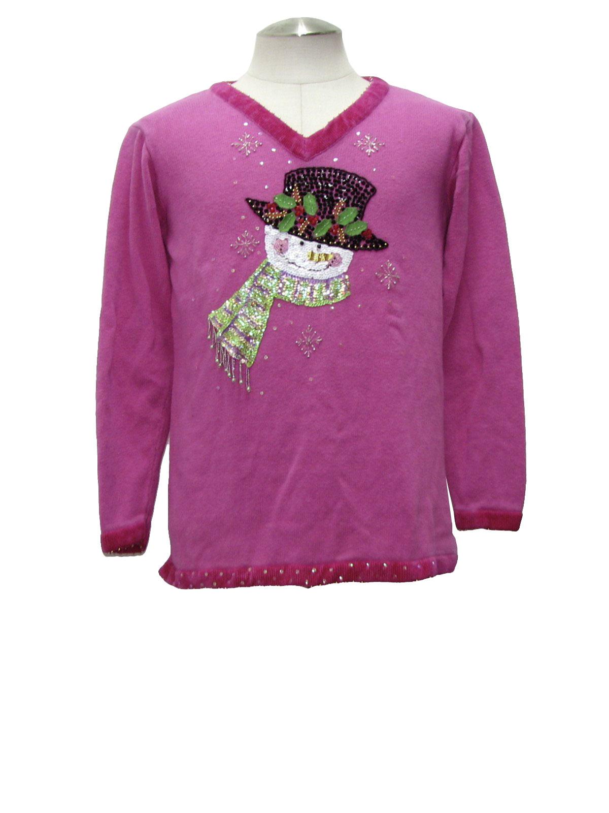 Quacker Factory Smirking Snowmen Tacky Ugly Christmas Sweater - L/XL