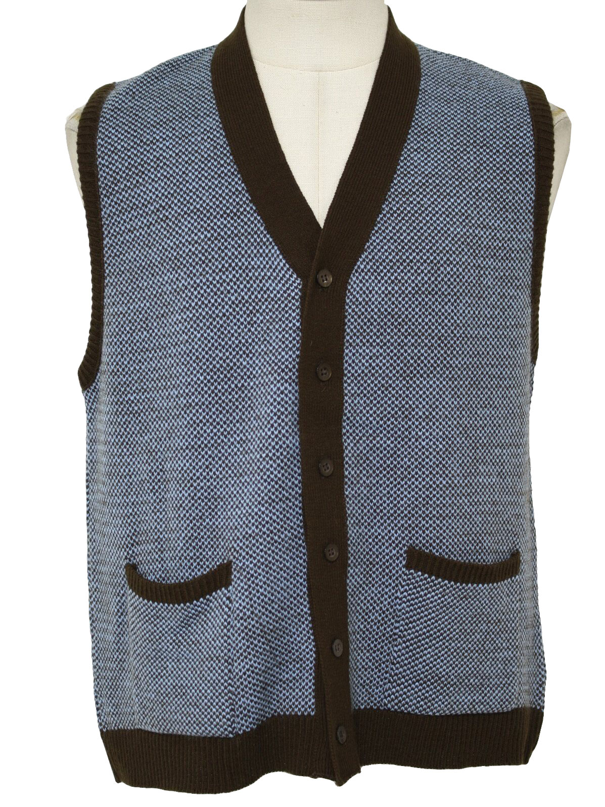 Retro 70's Vest: 70s -Donegal- Mens aqua and dark brown acrylic ...