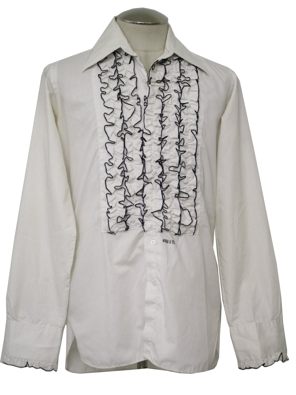 Retro 70s shirt after six 70s after six mens white for Tuxedo shirt black buttons
