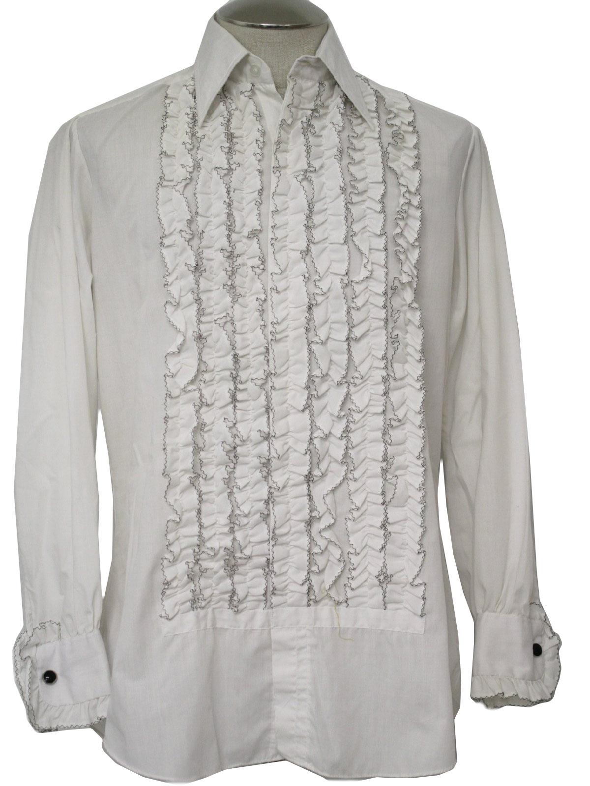 Retro Seventies Shirt 70s Monte Carlo Mens White