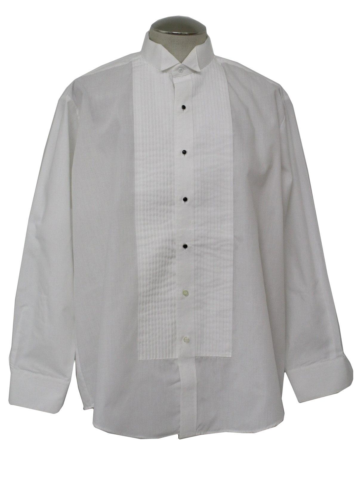 80 39 s chaplin shirt 80s chaplin mens white polyester for Tuxedo shirt no studs
