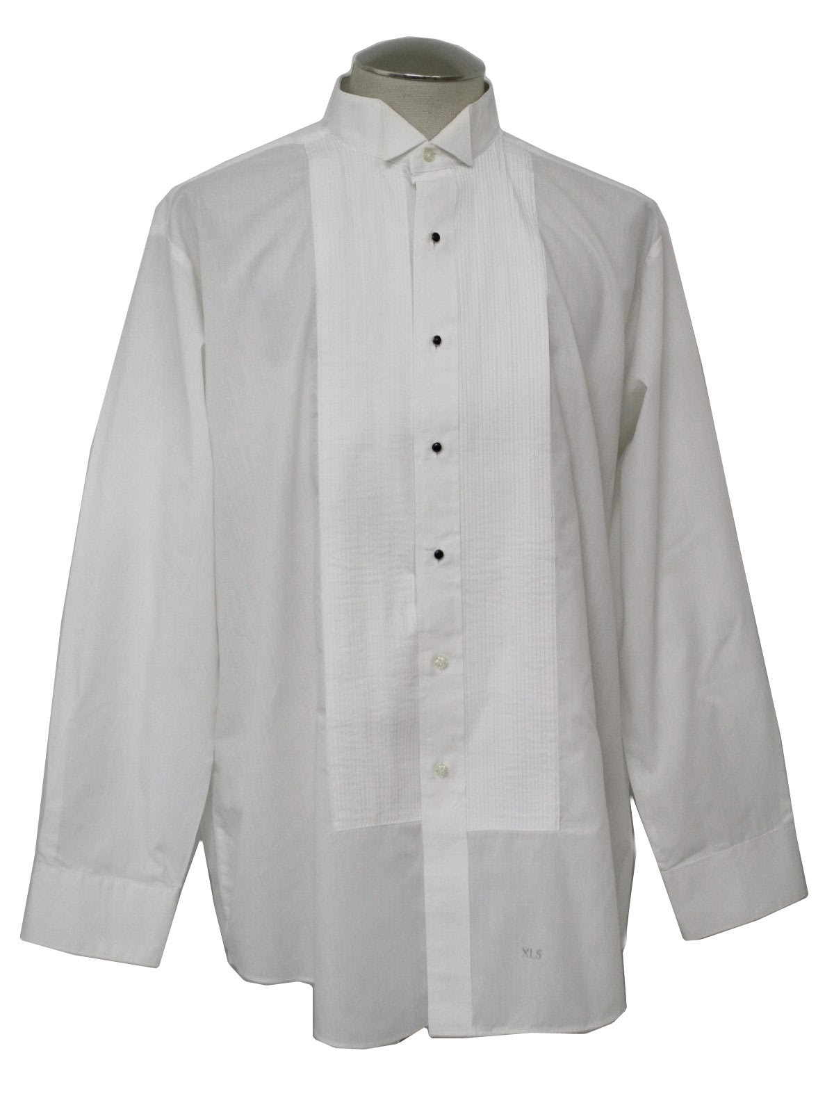 Vintage 1980 39 s shirt 80s chaplin mens white polyester for Tuxedo shirt no studs