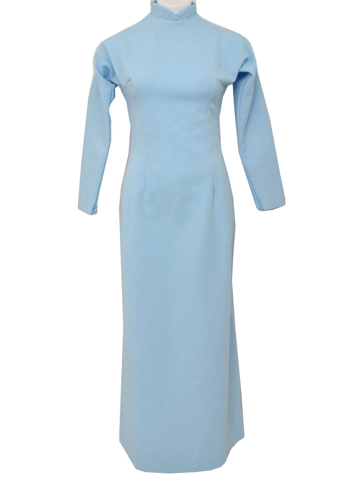 Retro 70\'s Dress: 70s -Home Sewn- Womens light blue tweed-textured ...