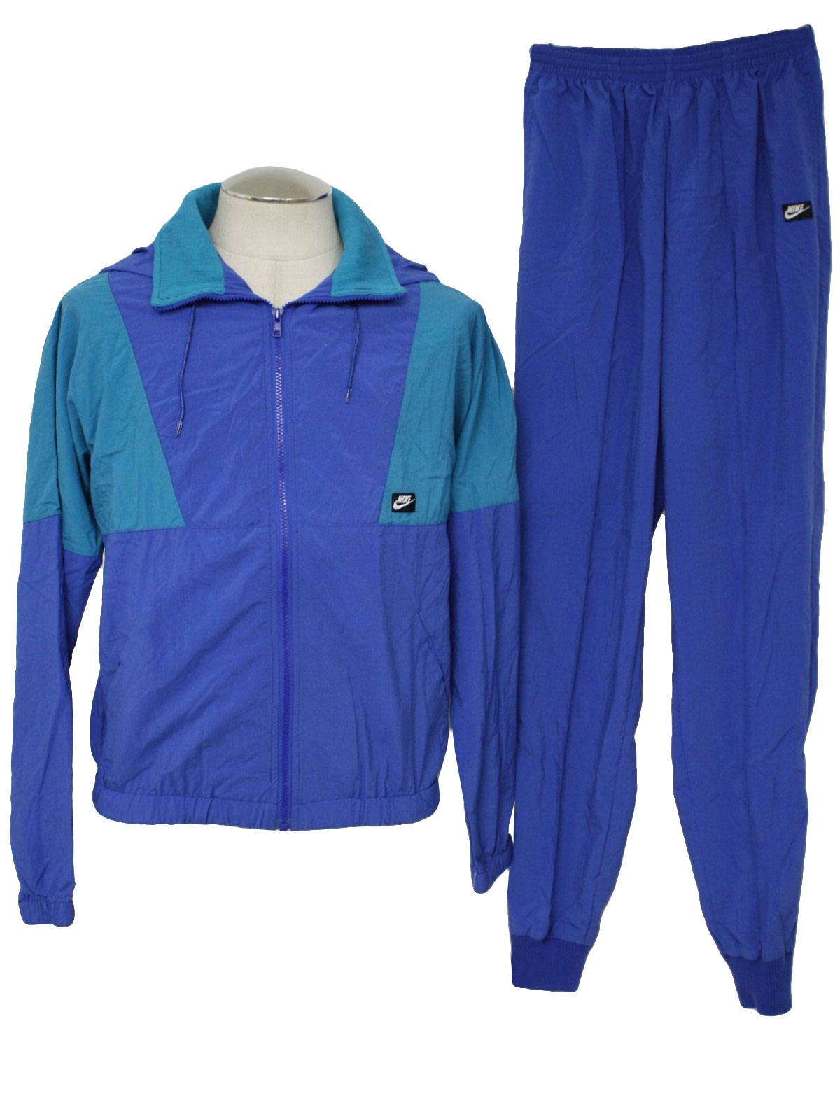 Nike 80's Vintage Suit: late 80s -Nike- Mens two piece nylon totally 80s track  suit aquamarine and blue track suit. Get your kick balls out because in  this ...
