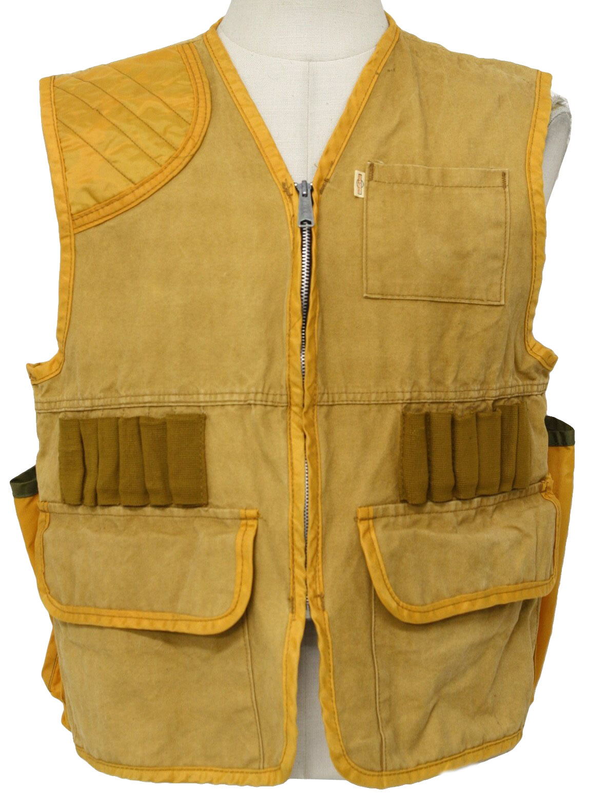 9f52d92d8a1a3 1960's Vintage SafTbak Vest: 60s -SafTbak- Mens tan, orange-gold and brown  cotton canvas and nylon hunting vest. There is a removable game pack  attached to ...