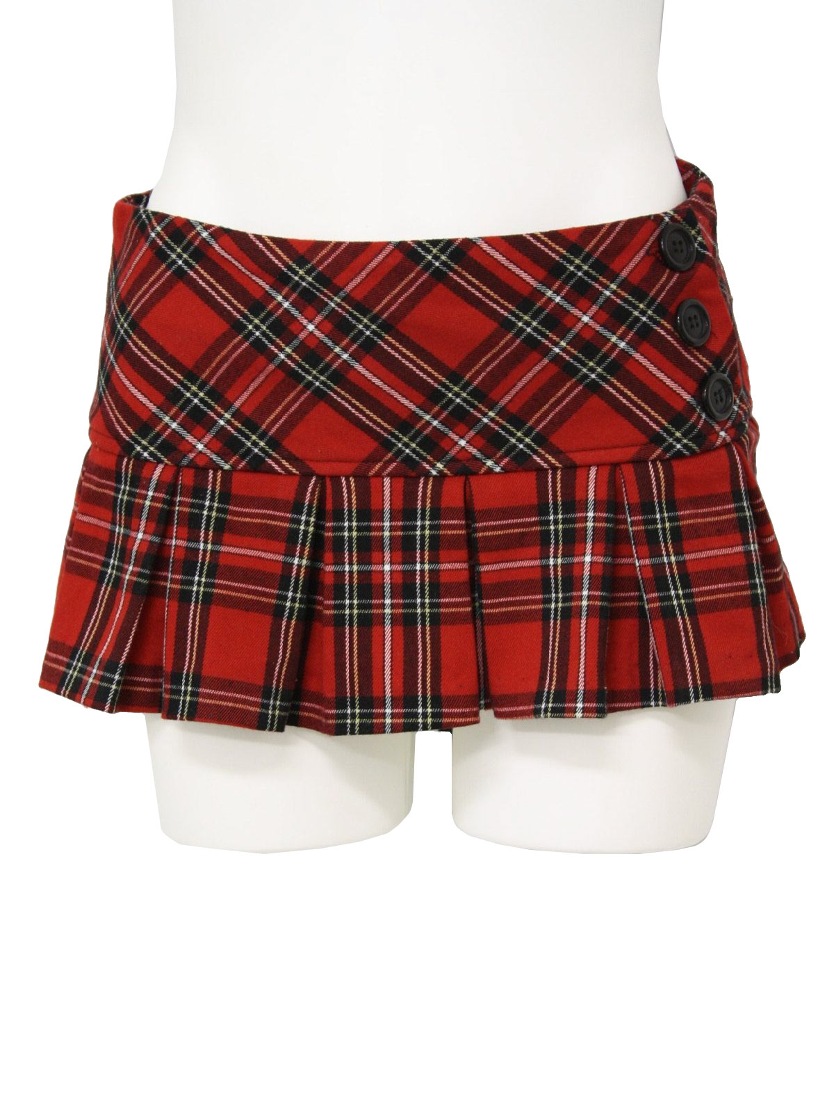 Retro 1990s Plaid Mini Skirt: 90s -Styles- Womens black, red ...
