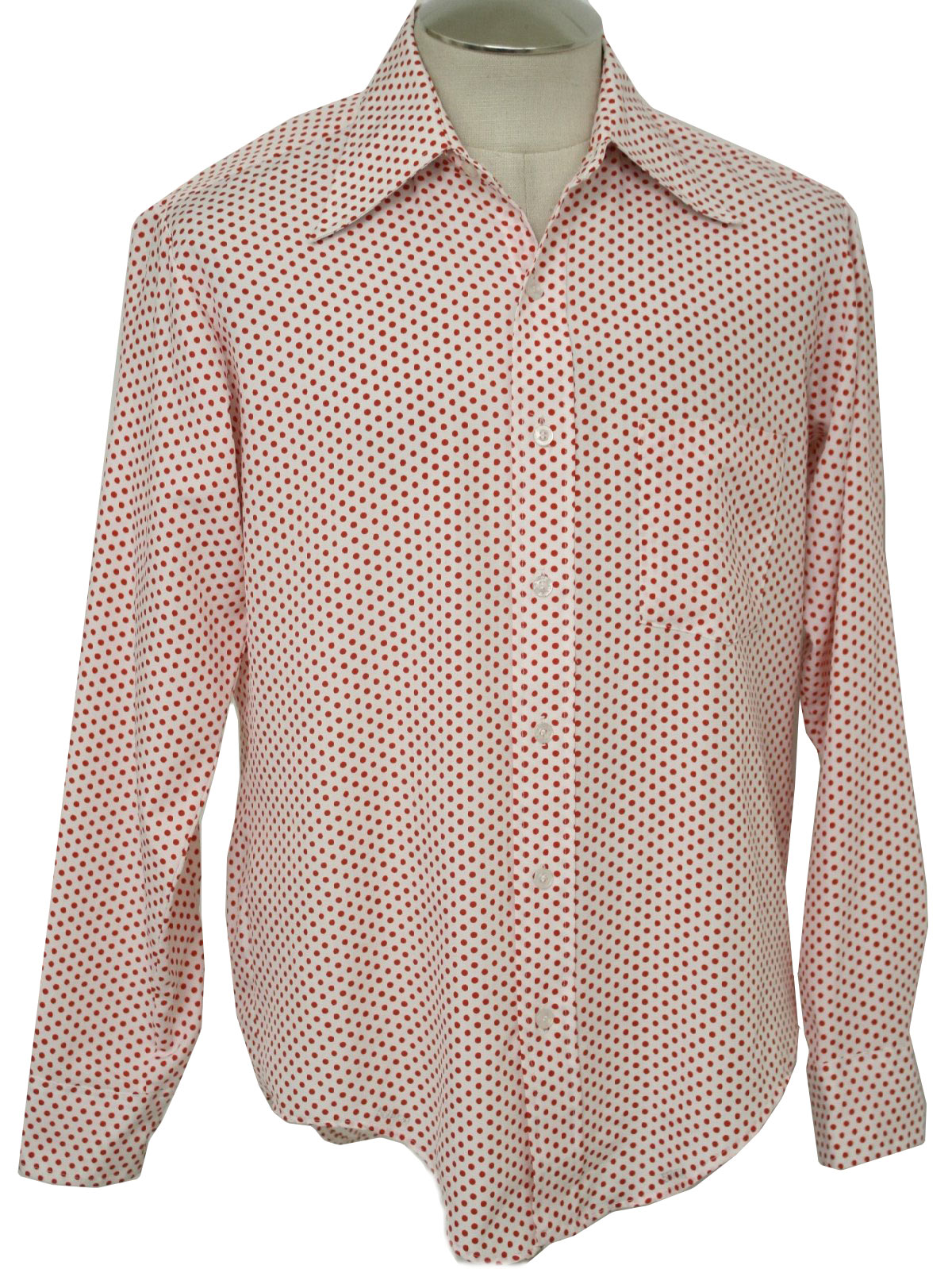 1970 39 s vintage oxford shirt company print disco shirt 70s for Mens shirts with cufflink holes