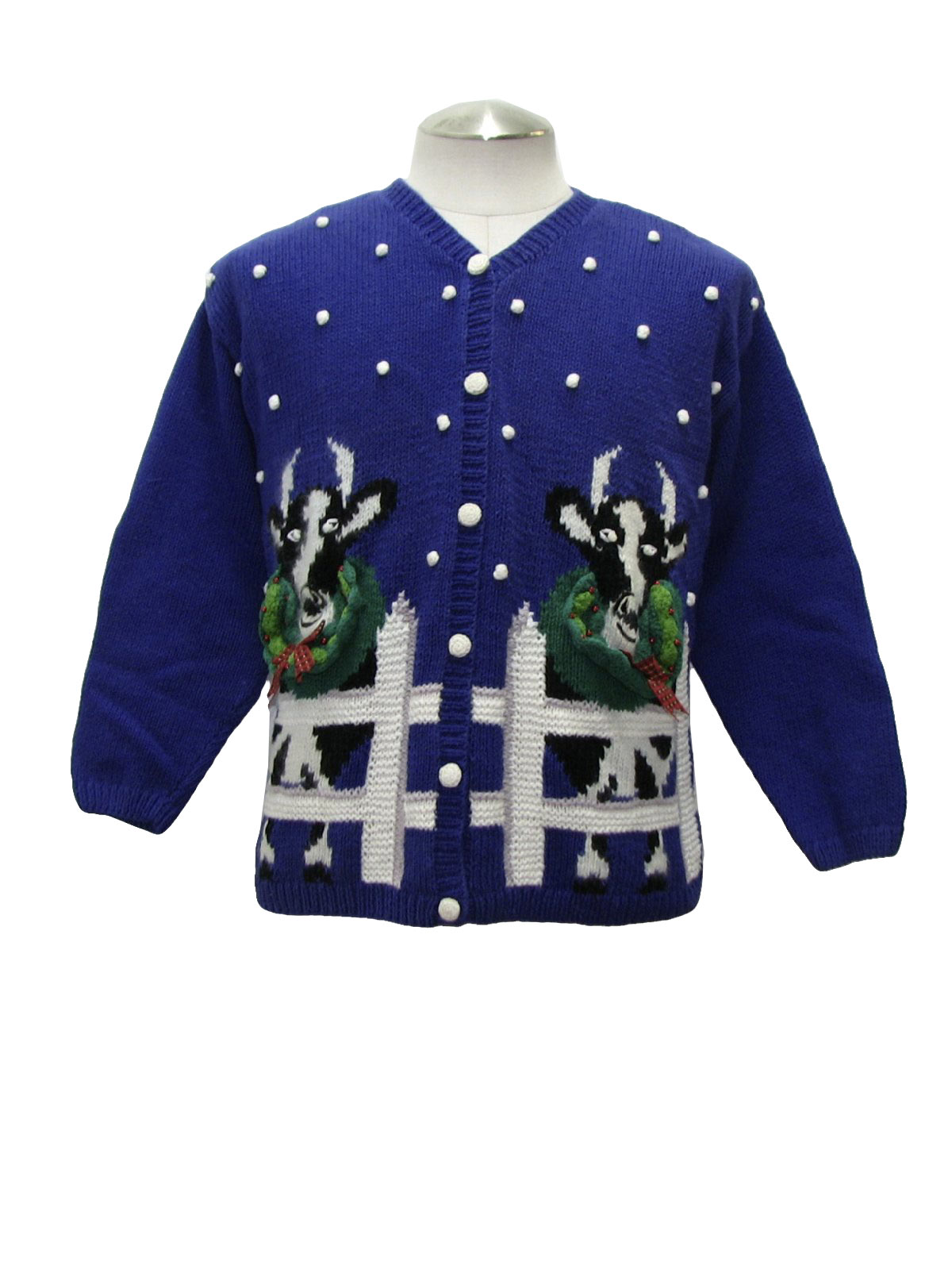 Womens Kitschy Cow Ugly Christmas Sweater Mike And Me Womens Blue