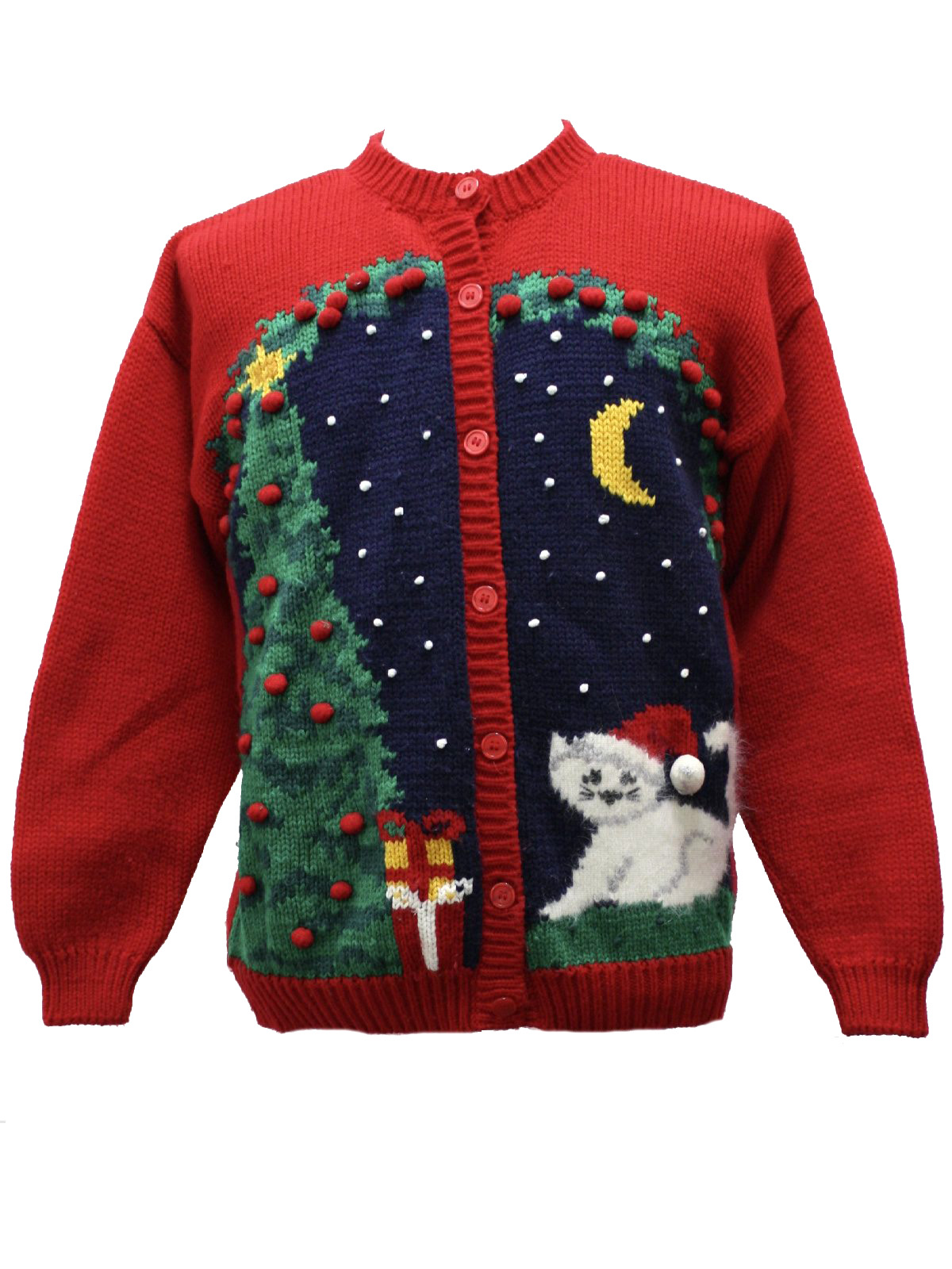 Christmas Cat Sweater.Womens Ugly Christmas Cat Sweater