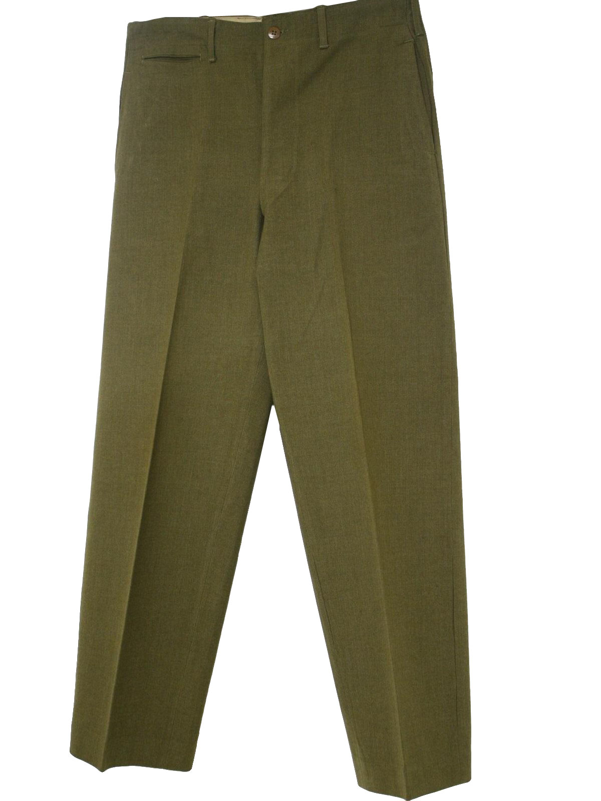 1940's Vintage Pants: 40s -No Label- Mens light olive green wool ...