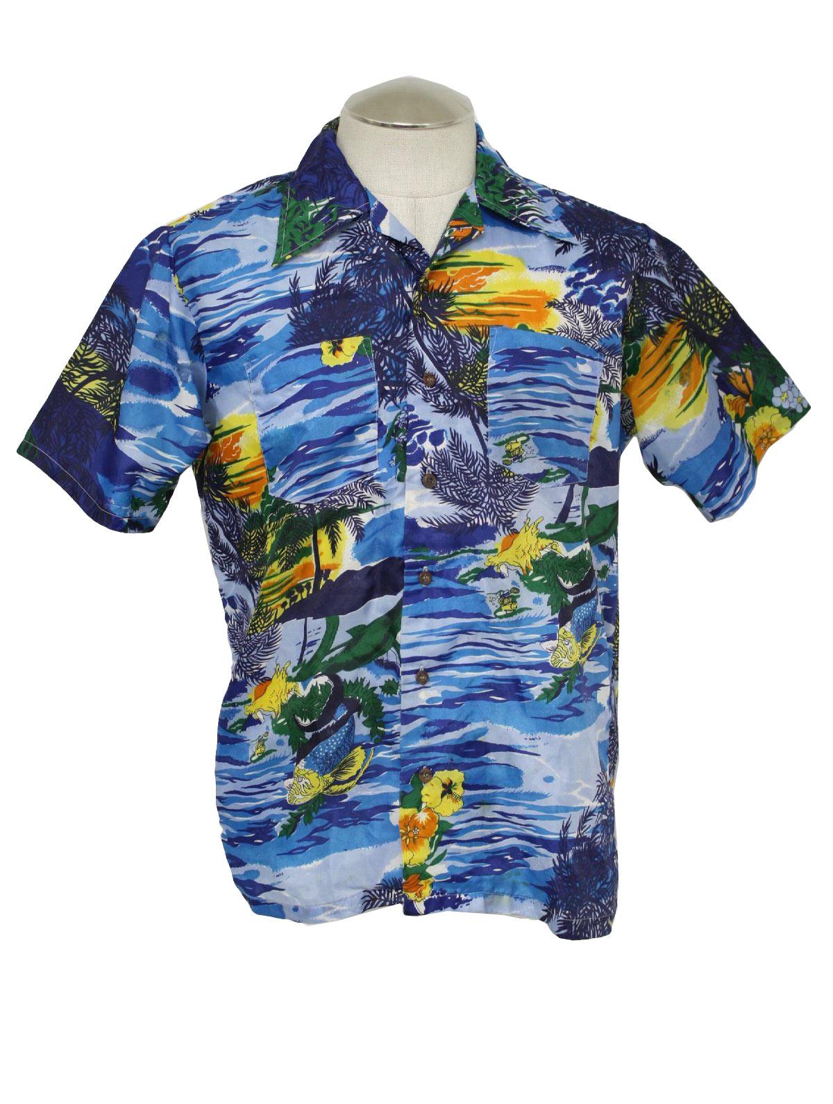 70 39 s waikiki holiday hawaiian shirt 70s waikiki holiday for Fish hawaiian shirt
