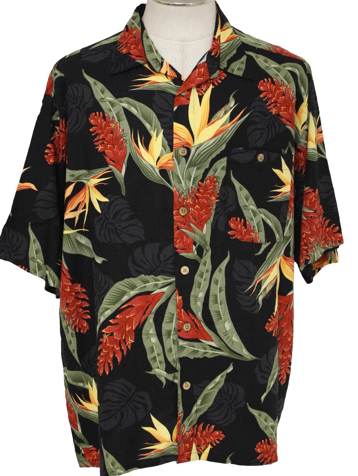 90s Vintage Puritan Hawaiian Shirt 90s Puritan Mens Black Yellow