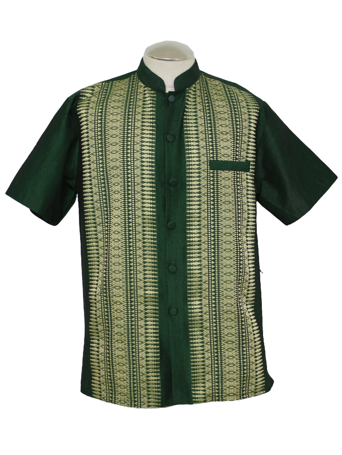 80s Vintage Hippie Shirt 80s No Label Mens Emerald Gold Silk