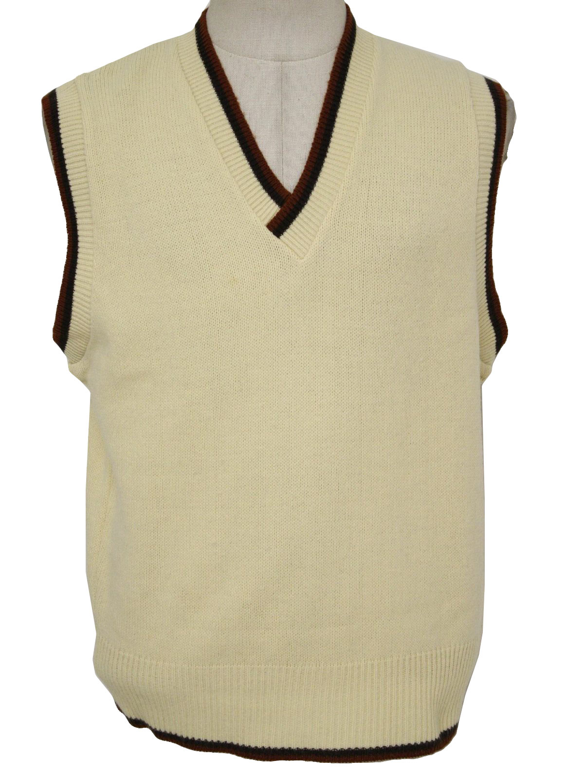 Retro 1970s Sweater: 70s -Sears Kings Road- Mens cream, brown ...