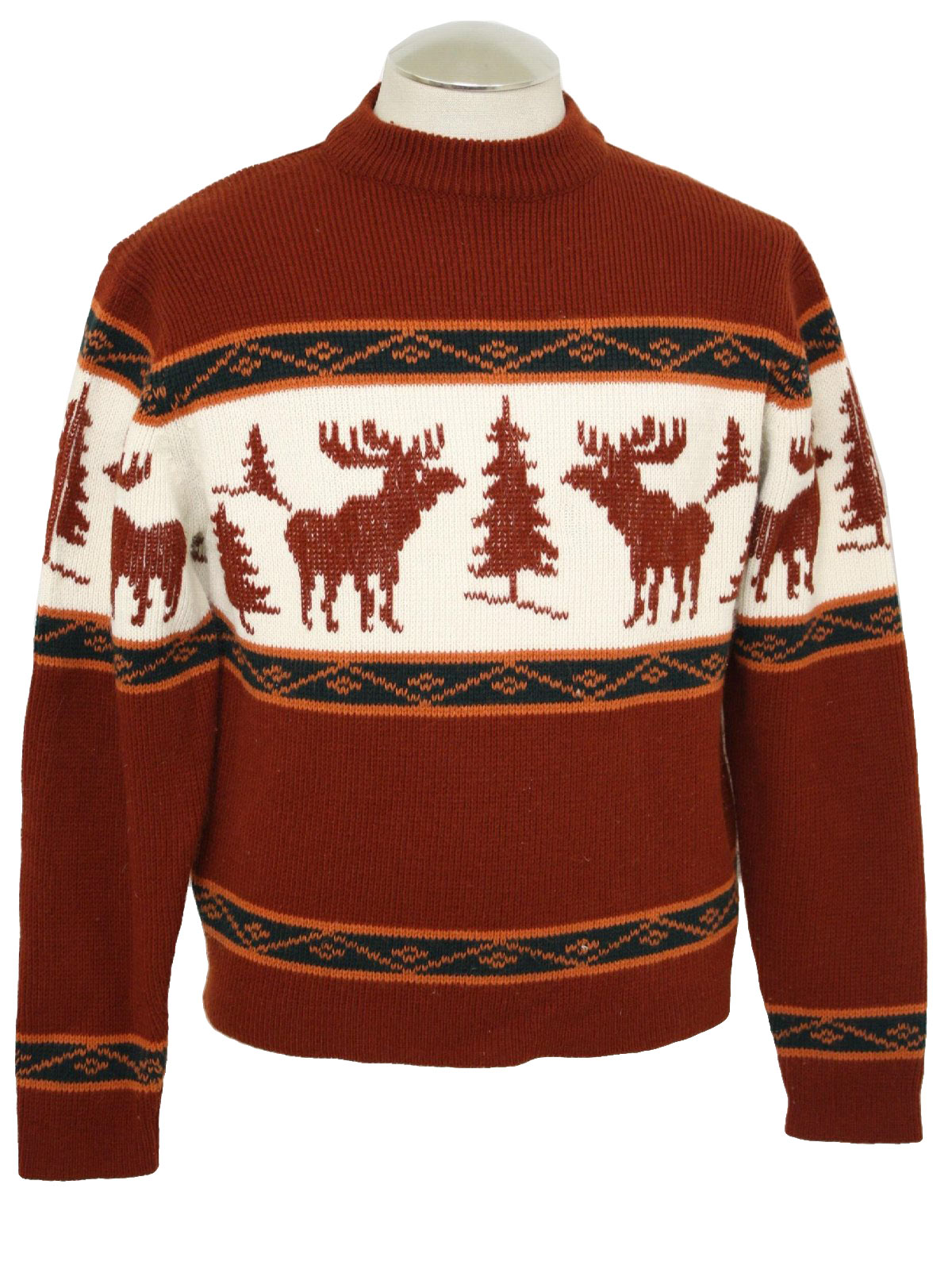 1970 S Retro Mens Christmas Theme Ski Sweater 70s Macys