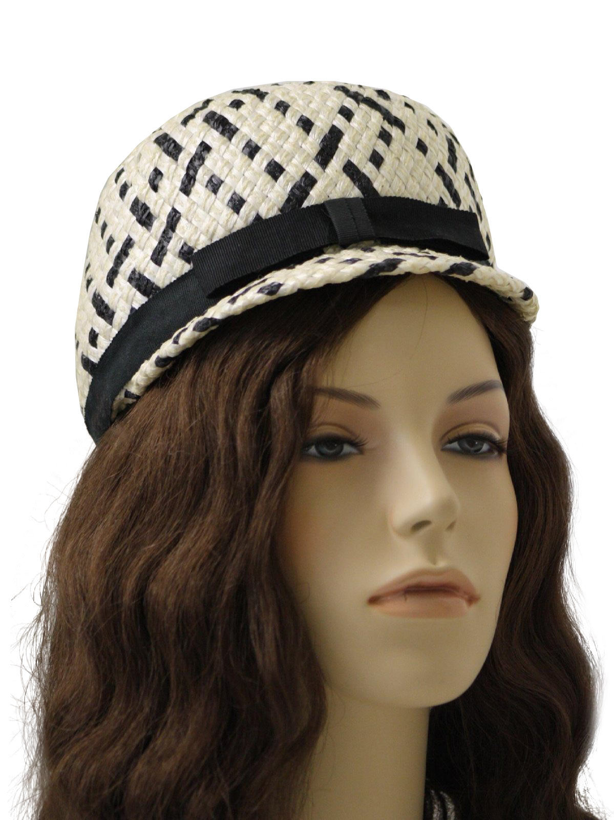 Vintage 60s Hat 60s Union Label Womens White Black And