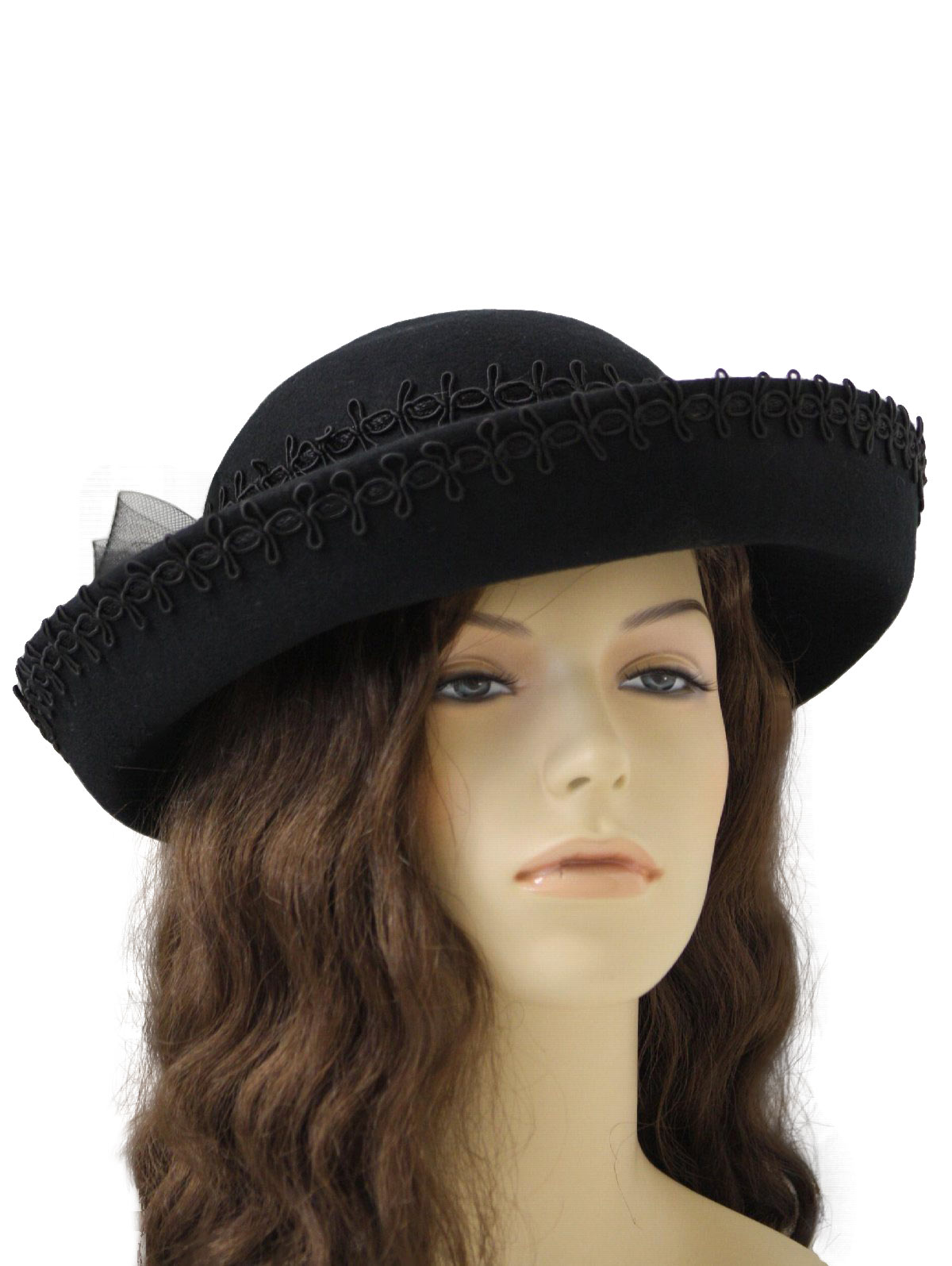 12735a975c0 1980 s Retro Hat  80s -Karen Lynn Exclusive- Womens black wool felt ...