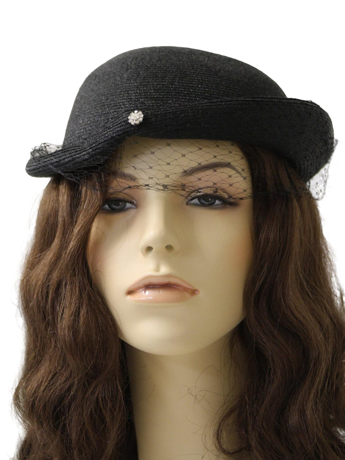 1950s Vintage Hat  50s -No Label- Womens black Milan straw toque ... 29917151ad7