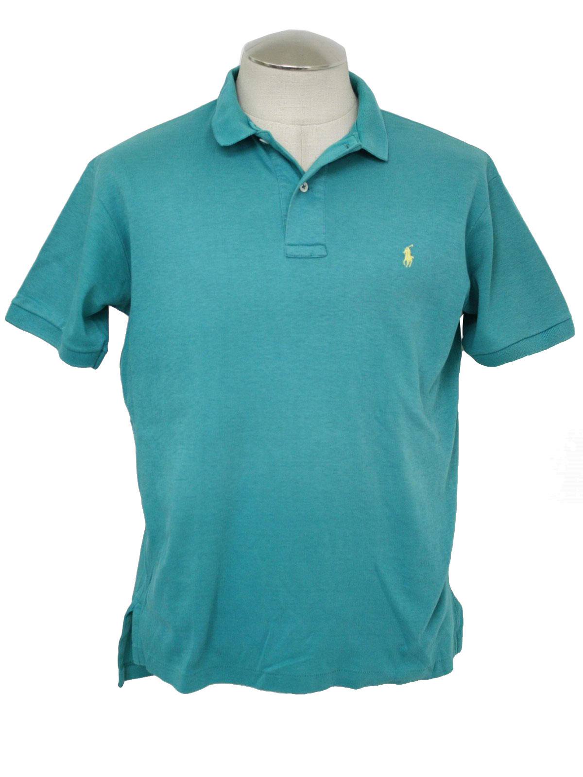 Retro 80 39 s shirt 80s polo by ralph lauren mens teal for Mens teal polo shirt