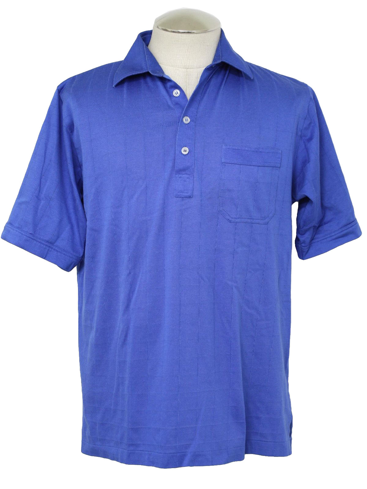 Eighties Vintage Shirt 80s Di Minzoni Mens Blue Cotton