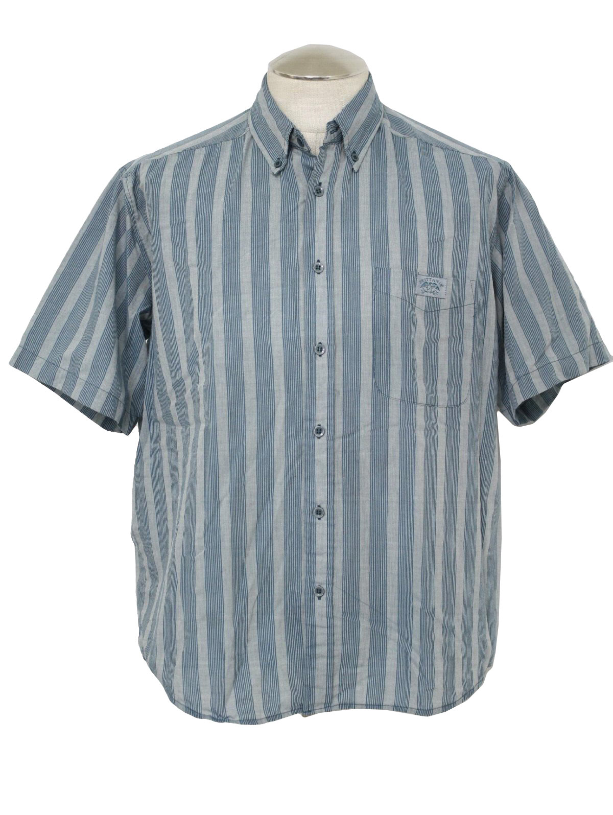 Brittania Eighties Vintage Shirt: 80s -Brittania- Mens blue and ...