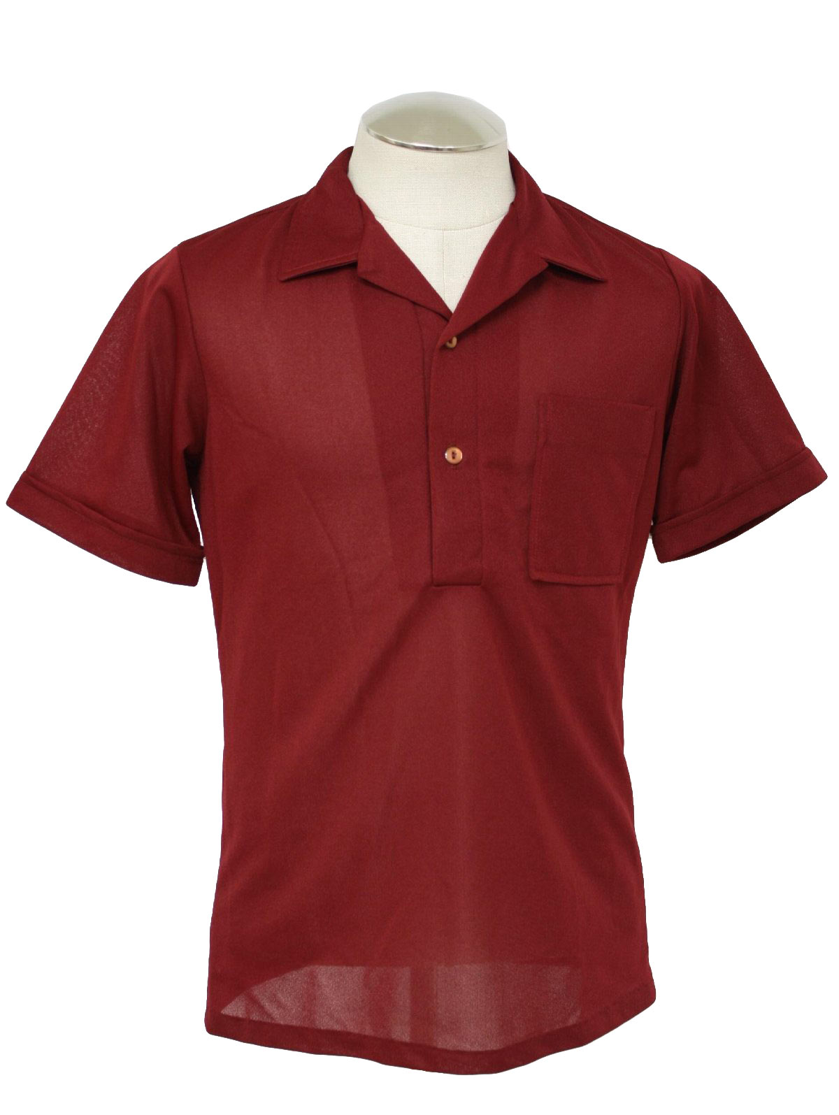 Vintage 1970 39 s shirt 70s dore mens maroon polyester for Mens pullover shirts short sleeve