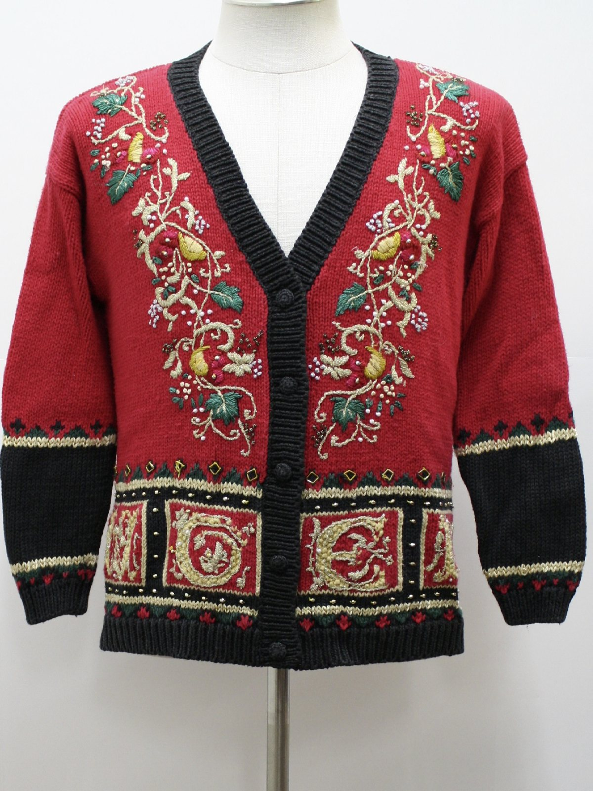 Womens Ugly Christmas Sweater: -Tiara- Womens Red