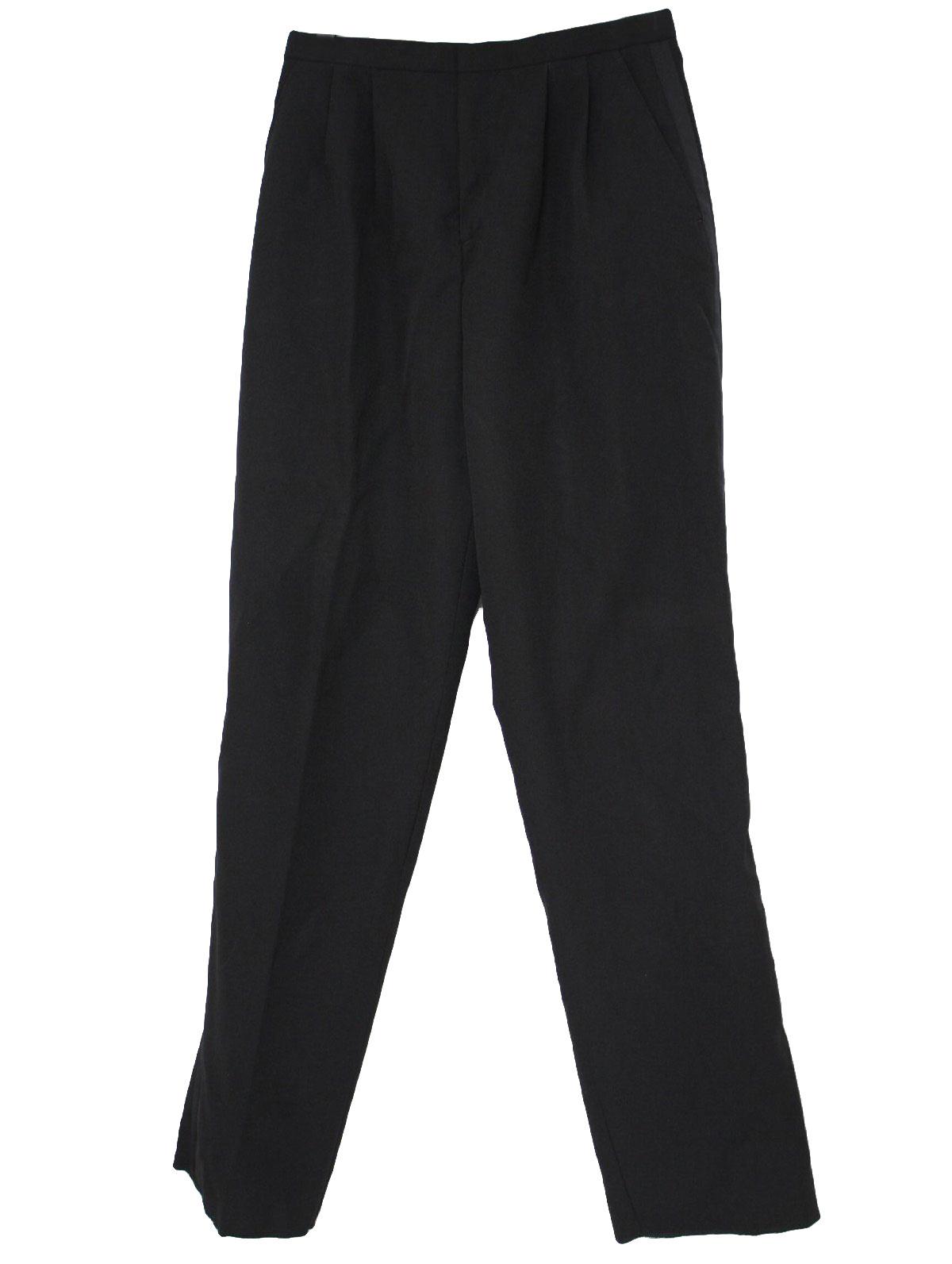 Elegant Eighties Vintage Pants 80s Mina Womens Black Polyester Tuxedo Pants