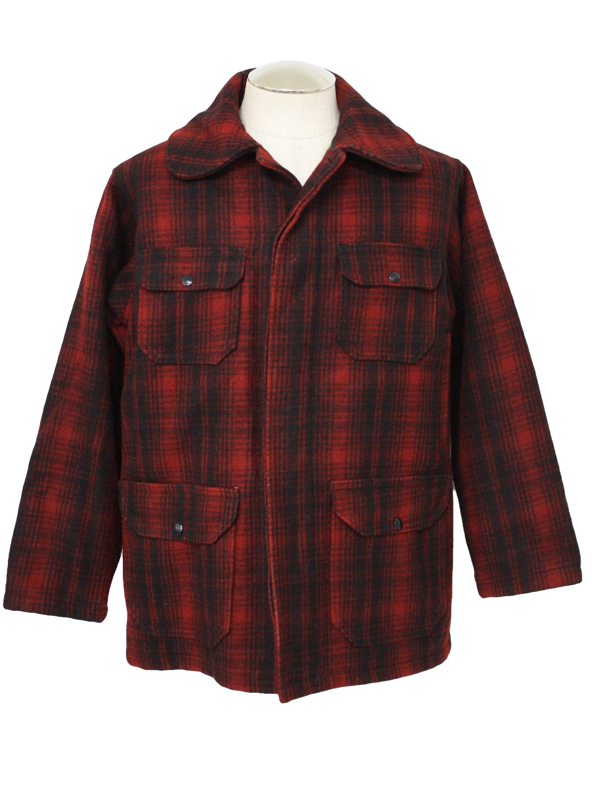 84a699d5a8976 Vintage Woolrich 60's Jacket: 60s -Woolrich- Mens black and red wool ...