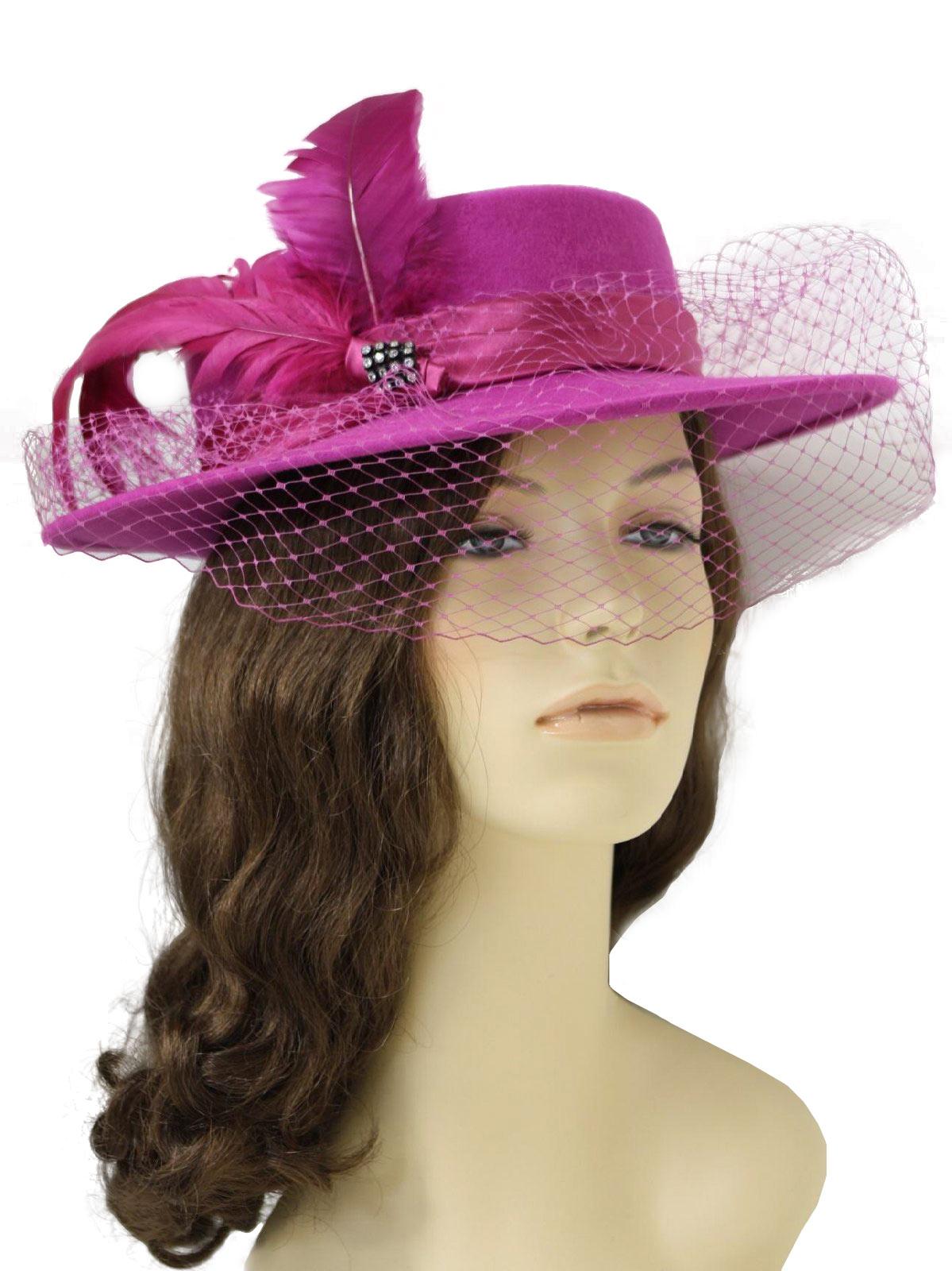 80 s Miss Bierner Hat  80s -Miss Bierner- Womens fuschia wool felt ... e1666b87aab