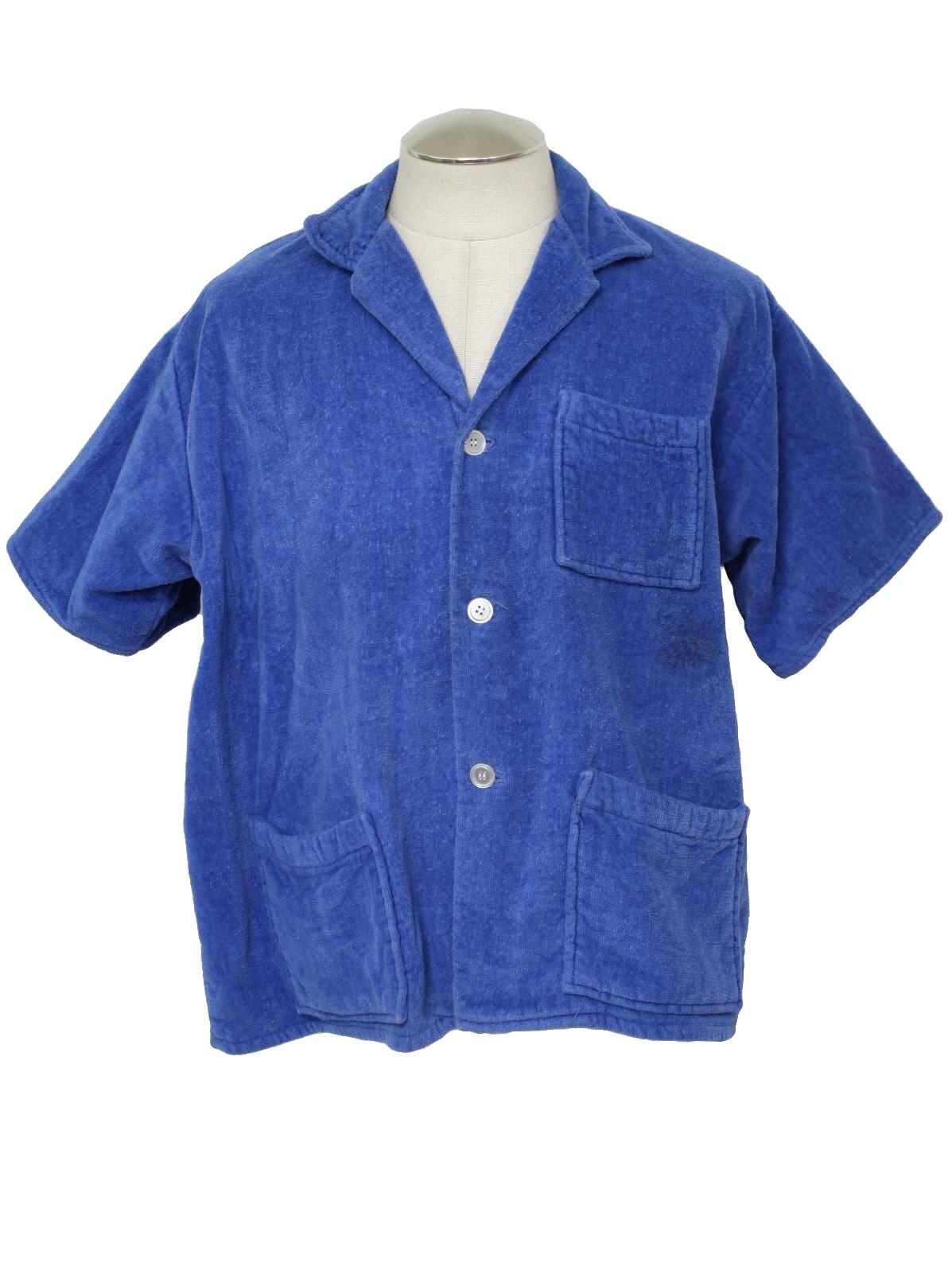 Perfect 60s Retro Shirt: 60s -Brent- Mens short sleeve, bright navy  SN24