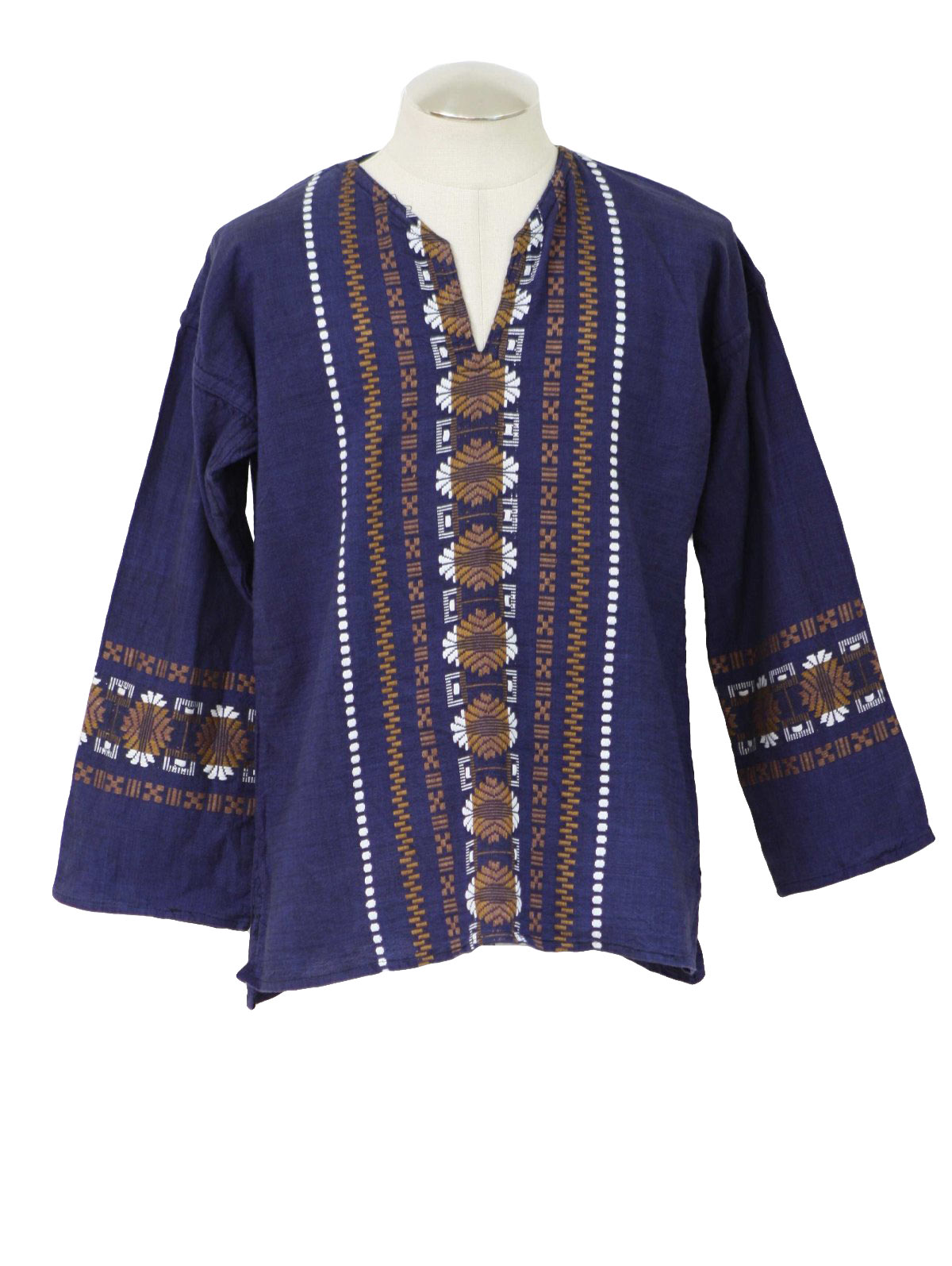 1970s Hippie Shirt 70s No Label Mens Blended Blue And