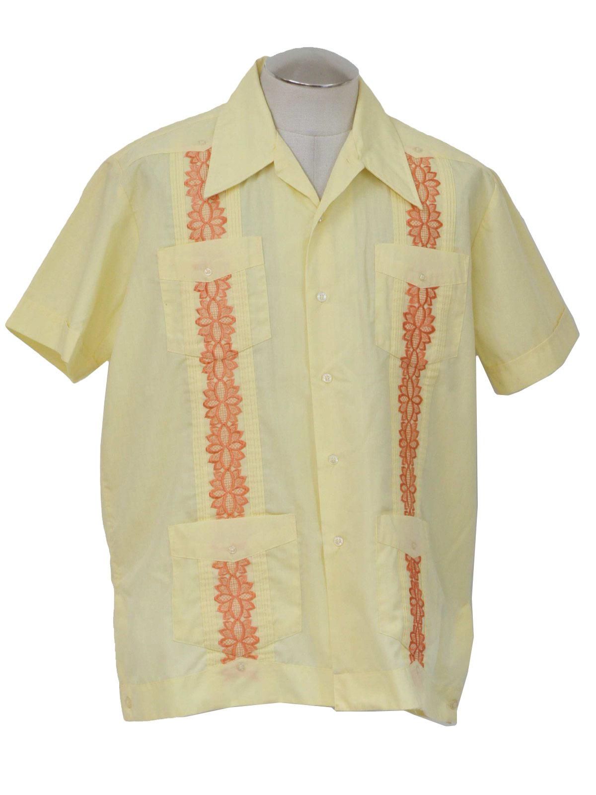 70's Cascade Guayabera Shirt: 70s -Cascade- Men sunny