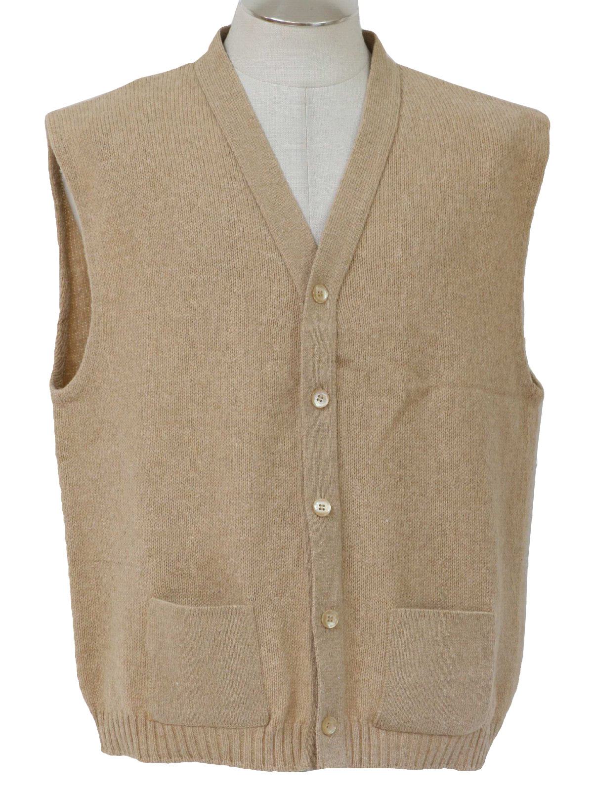 60's Sweater: 60s -no label- Mens light tan acrylic sweater vest ...