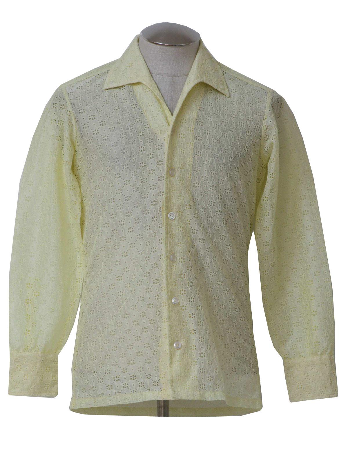 Gino paoli 1970s vintage shirt 70s gino paoli mens for Mens eyelet collar dress shirts