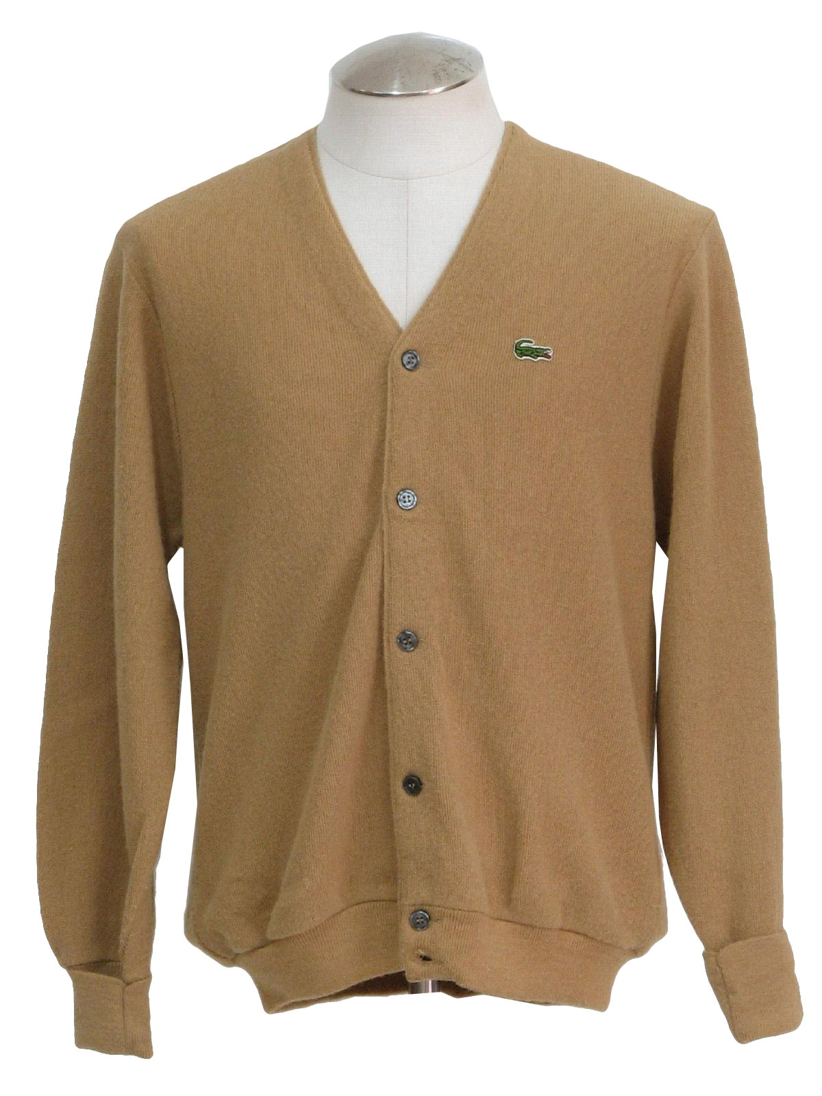 70s Caridgan Sweater (Izod): 70s -Izod- Mens tan acrylic ...
