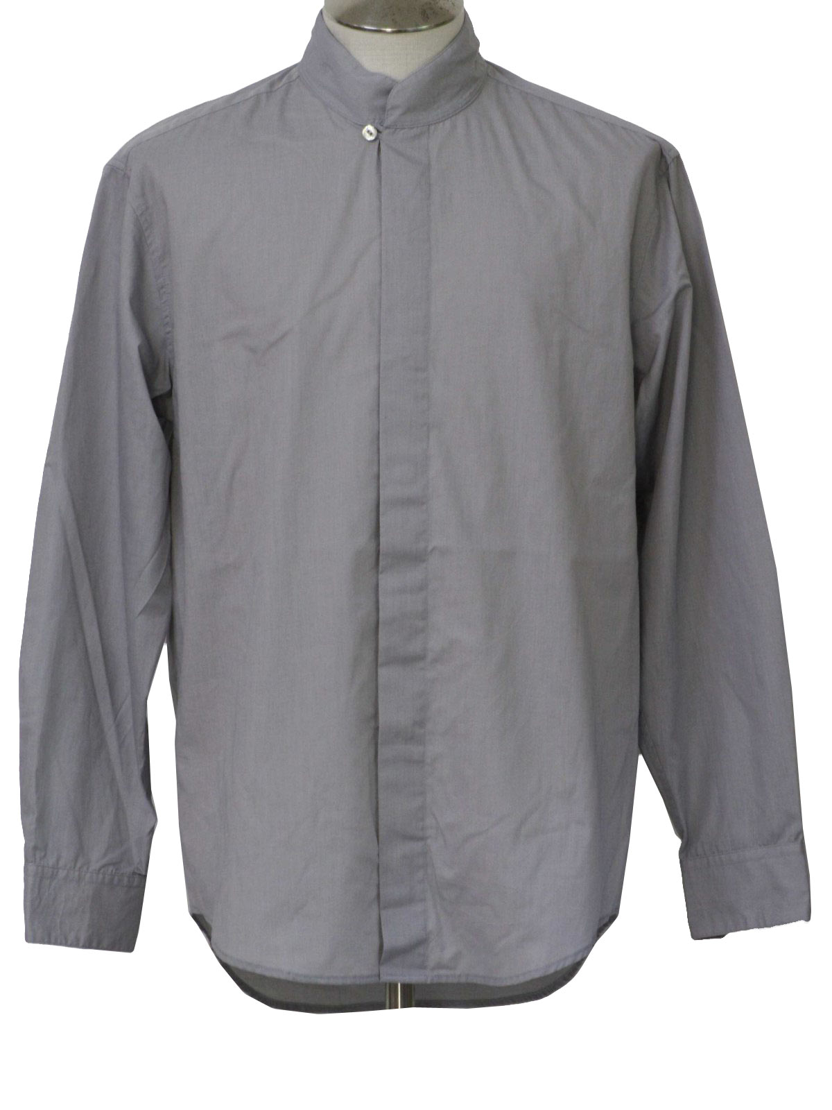 Vintage 1960s Shirt Late 60s Style Made In 80s Mens Grey Cotton