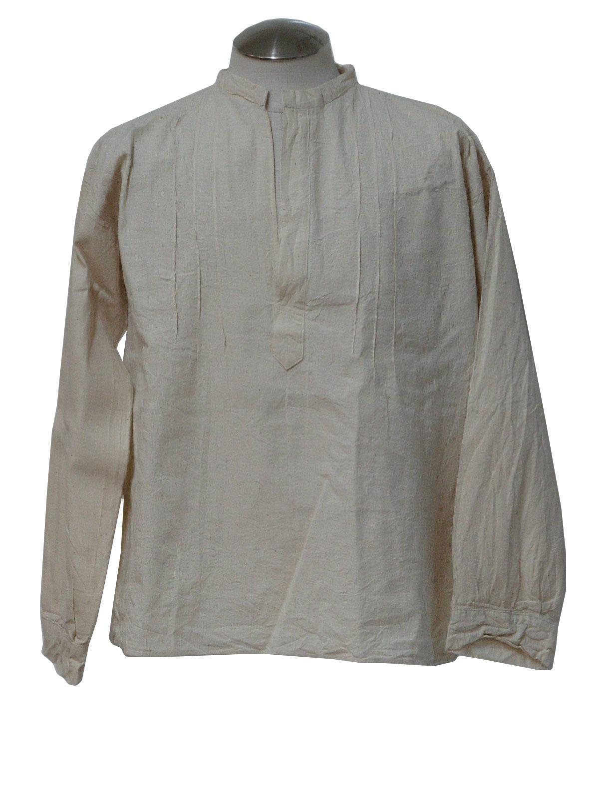 1970s Hippie Shirt 70s No Label Mens Off White Natural