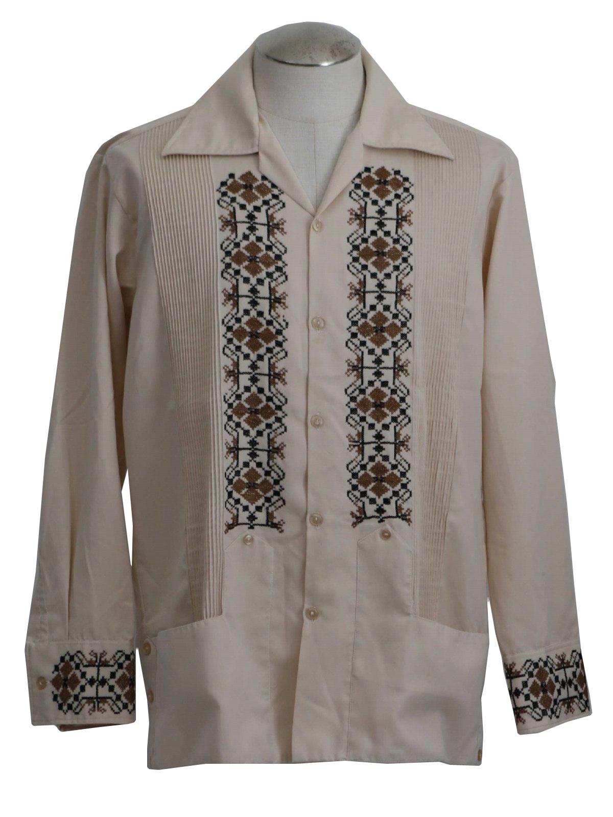 Vintage 70s Guayabera Shirt 70s Brummel Mens Creamy