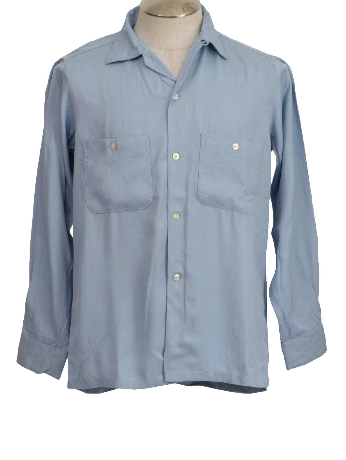 50s retro gabardine shirt 50s arrow mens light blue for Mens rayon dress shirts