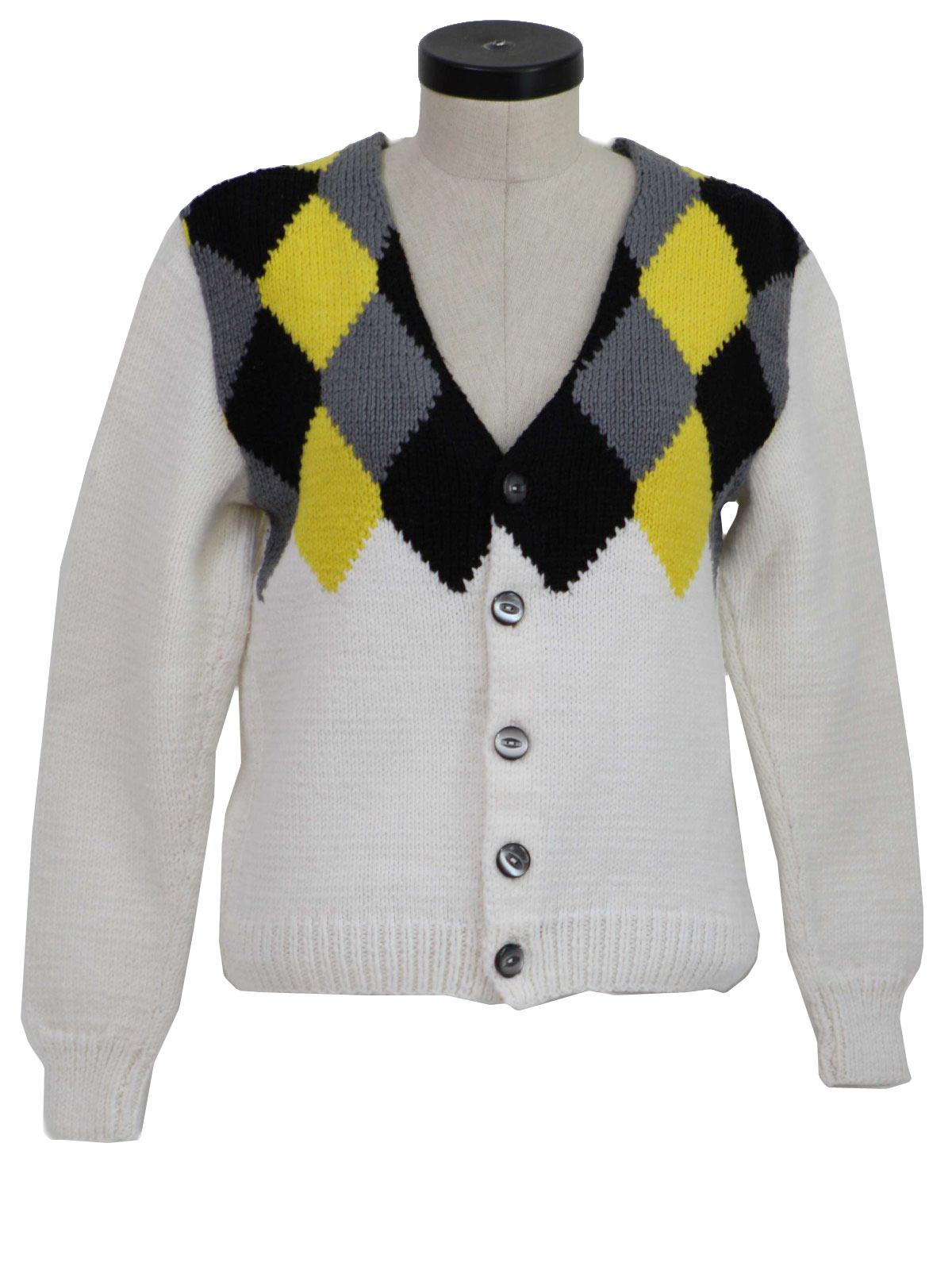 Vintage 1960's Caridgan Sweater: 60s -Hand Knit- Womens white ...
