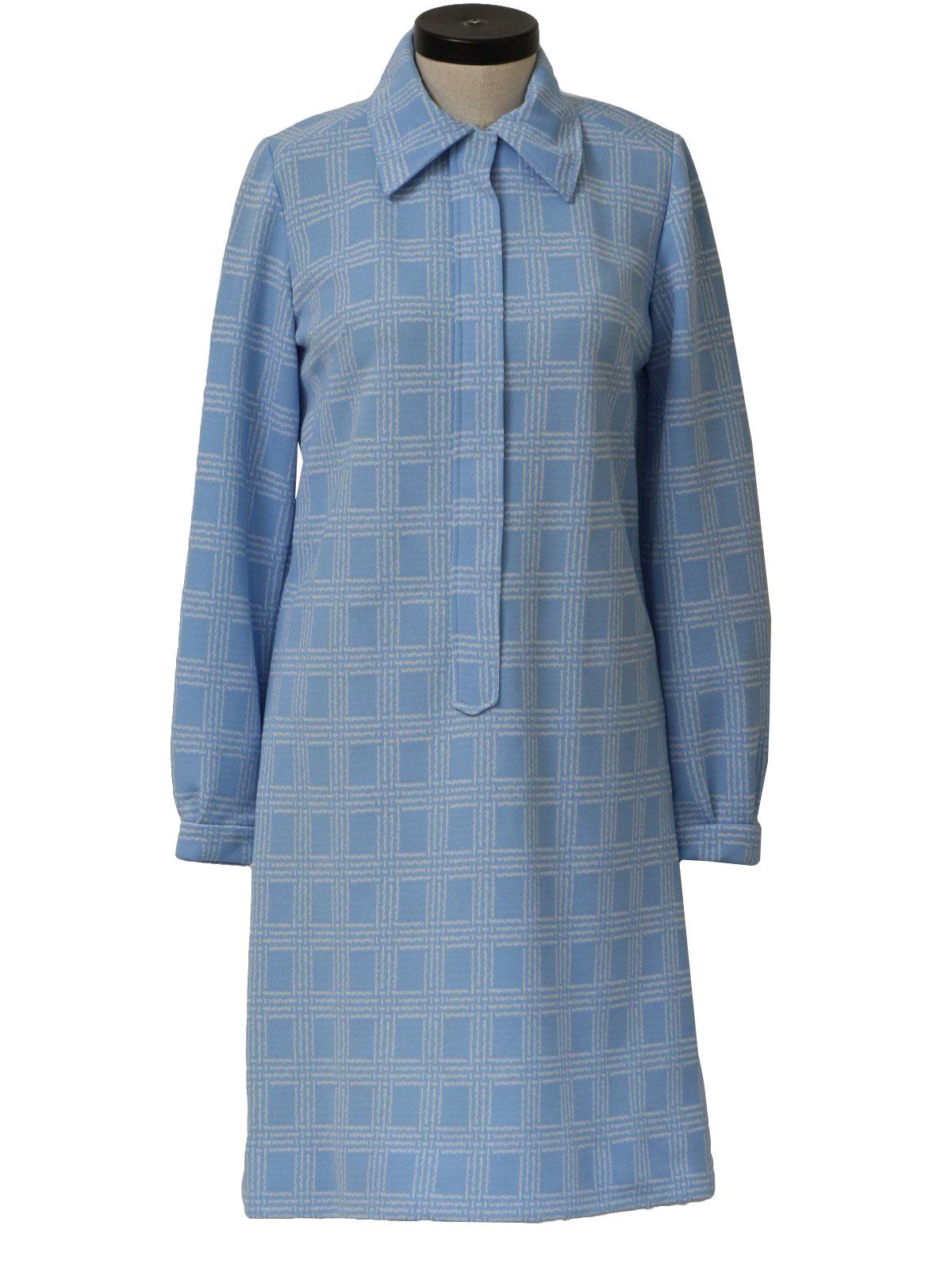 Long Sleeve Knit Dress Pattern : 70s Dress: 70s -no label- Womens sky blue and white polyester knit long ...