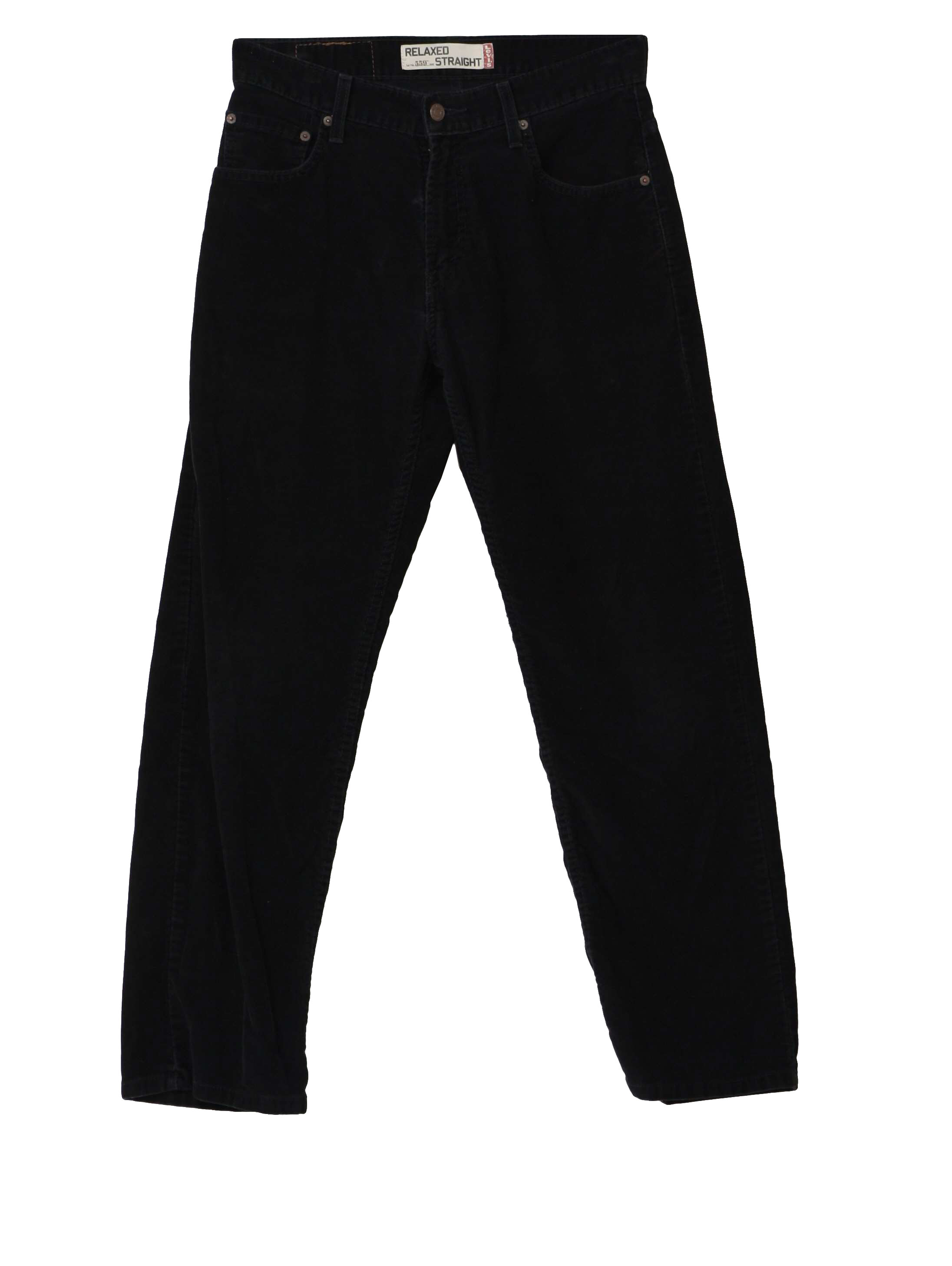 90&39s Vintage Pants: 90s -Levis- Mens black cotton polyester