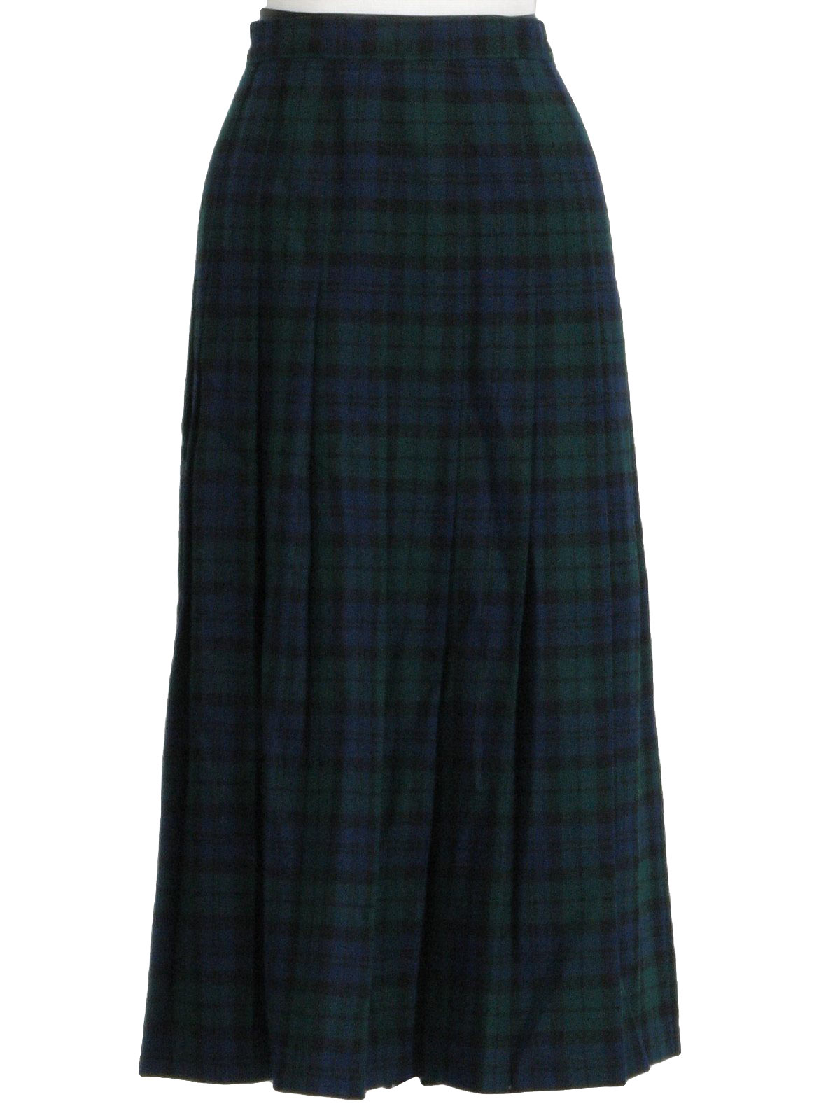 b96984b0b 70's Pendleton Plaid Skirt: 70s -Pendleton- Womens dark blue, black and  green thick pleated shin length, high waist -Blackwatch- tartan print wool  skirt ...