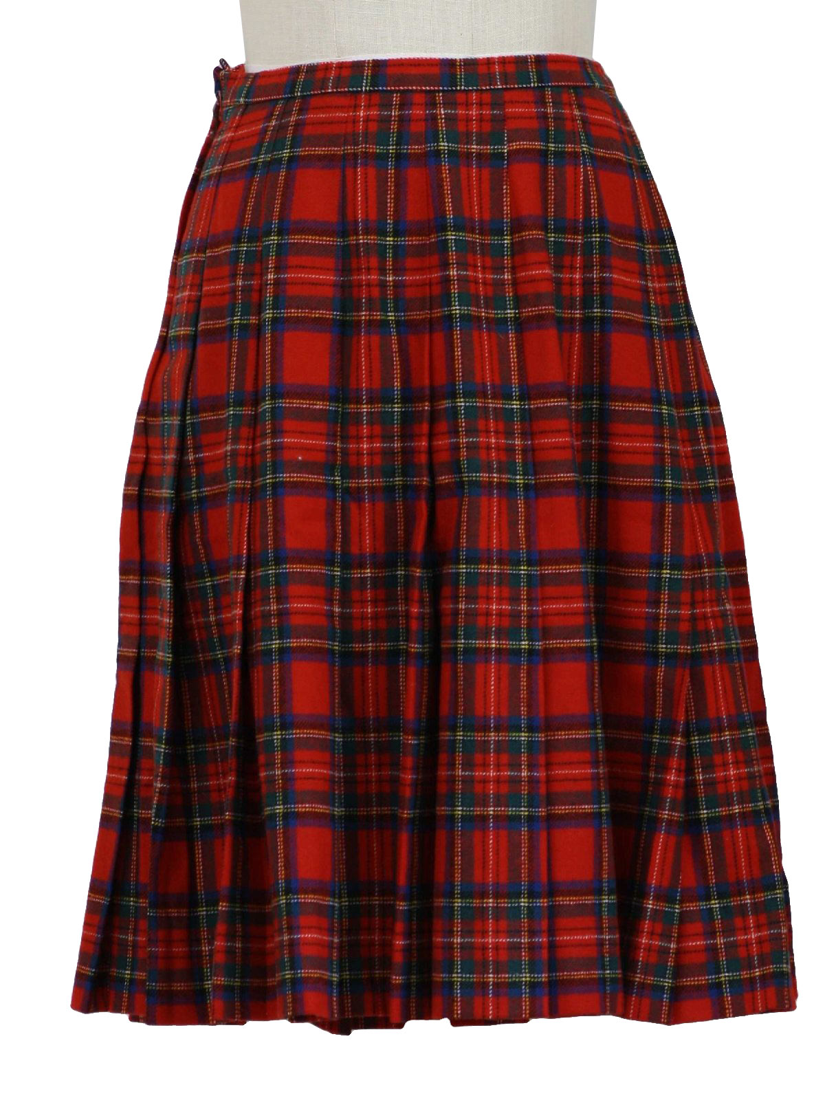 Vintage 70s Plaid Skirt: 70s -Pendleton- Womens red, blue, dark ...