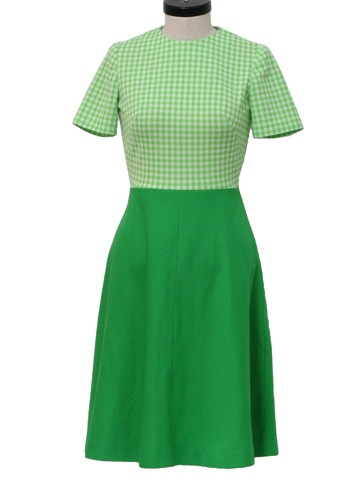 60s -Missing Label- Womens green and white mid length short sleeve ...