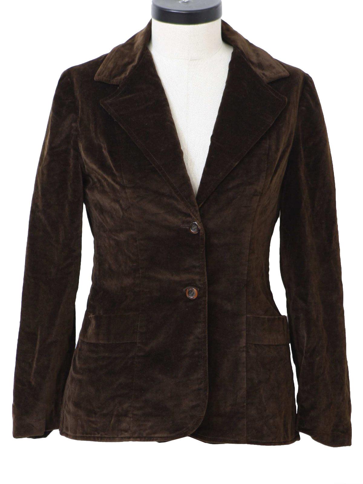 Retro 70's Jacket: 70s -MJ- Womens brown velvet two button blazer ...