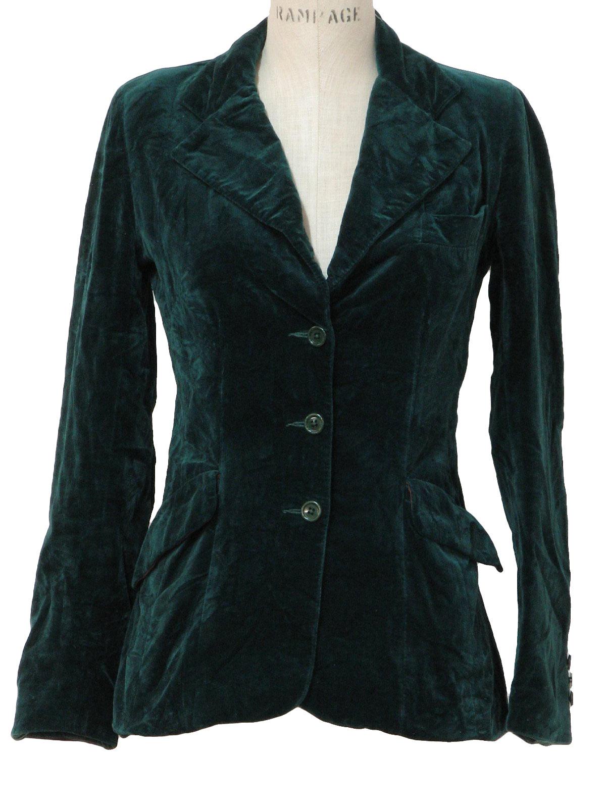 Vintage 1980's Jacket: 80s -JH- Womens emerald green cotton velvet ...