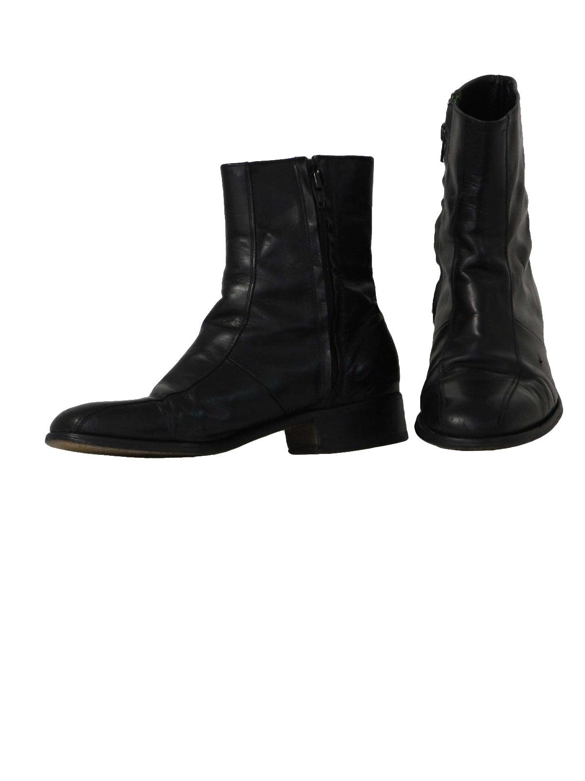 70s Retro Shoes: 70s -Florsheim- Mens black smooth leather mod ...