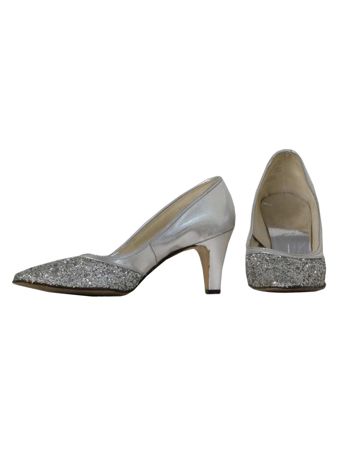 d8e5aa56182 1970's Retro Shoes: 70s -Sears Fashions- Womens silver vinyl pumps ...